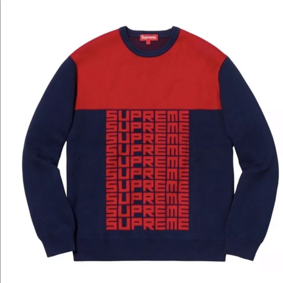 8ca8ffd3035c Supreme Logo Repeat Sweater FW18 Navy Blue Red